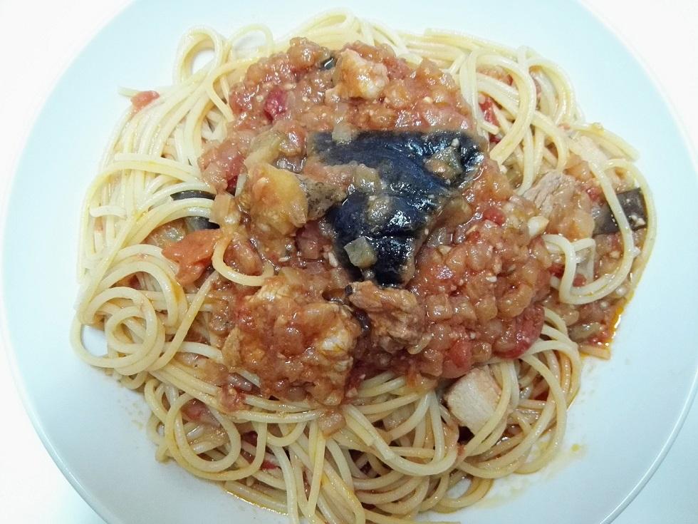 豚バラ肉とナスのトマトソースパスタ