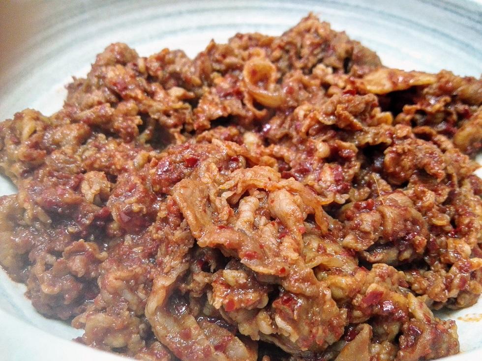 牛バラ肉の甘辛炒め