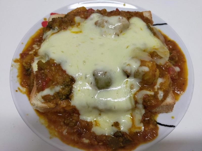 カレーチーズ on 食パン